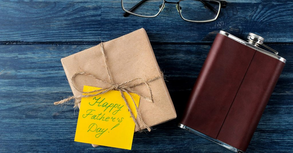 Image of a flask and a gift for dad