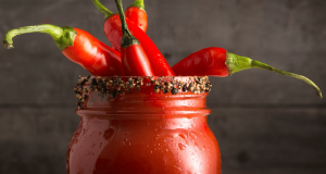 Image of a caesar drink with hot peppers