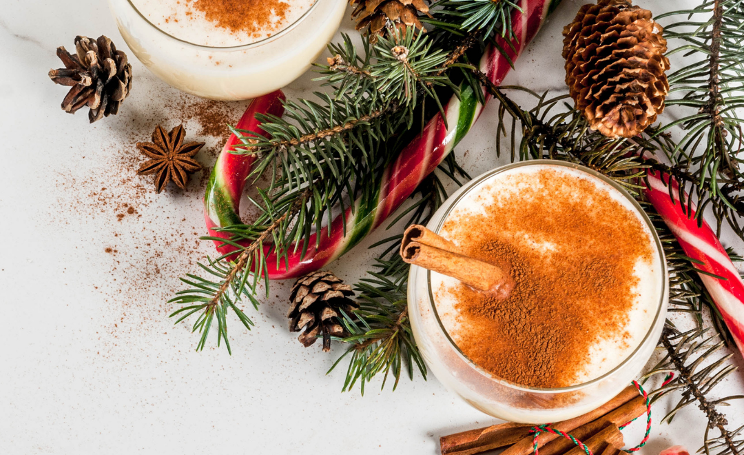 Image of eggnog with candy cane
