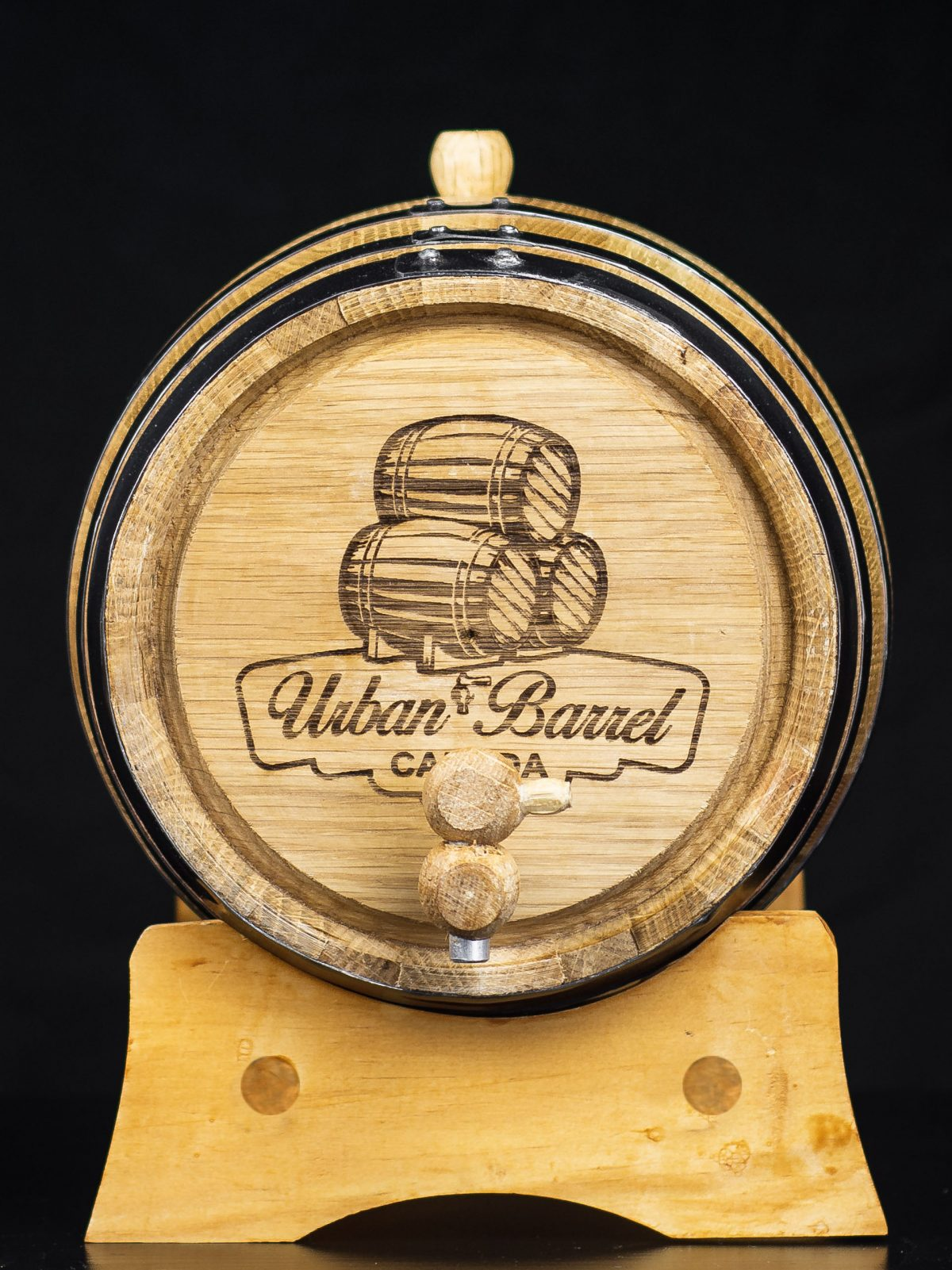 Image of the front of our oak aging barrel