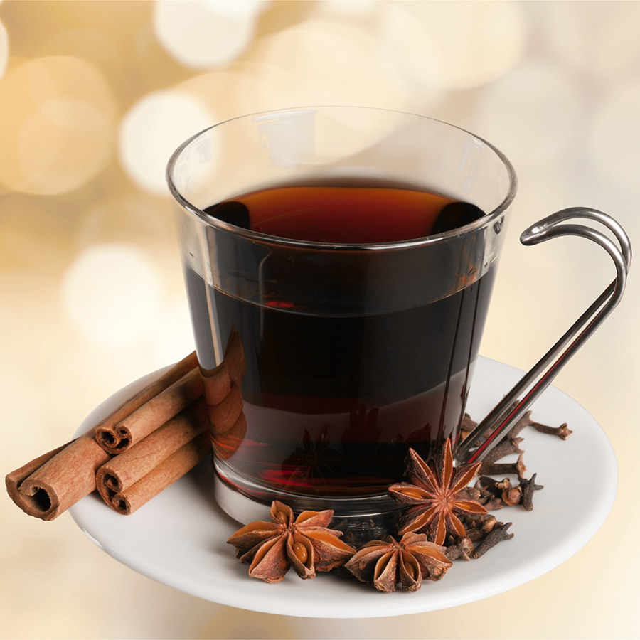 Glass of barrel-aged mulled wine