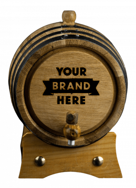 """Image of a barrel that has """"your logo here"""""""
